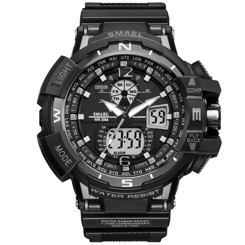 Nova marca smael relógio dual time big dial homens relógios esportivos s relógio de pulso relógio de pulso à prova d 'água relógio digital relogio masculinos gota drop shipping