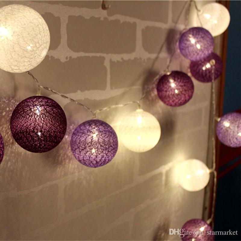 new concept dc29e b4888 Thai Style Cotton Ball String Light 3.3M 20Balls Festival Fairy Light Led  Strip Strings For Bedroom Party Christmas Wedding Garland Lights Battery ...