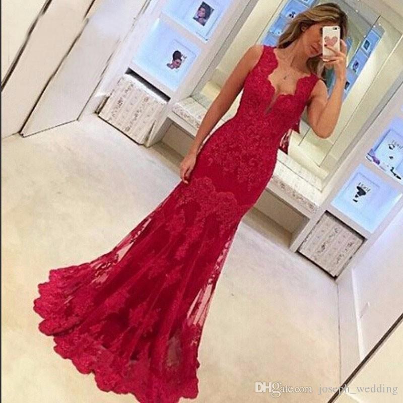 Elegante rojo 2019 apliques de encaje con cuello en V vestidos largos de noche correas espaguetis vestidos de noche de tul Vestido de fiesta Vestido de fiesta