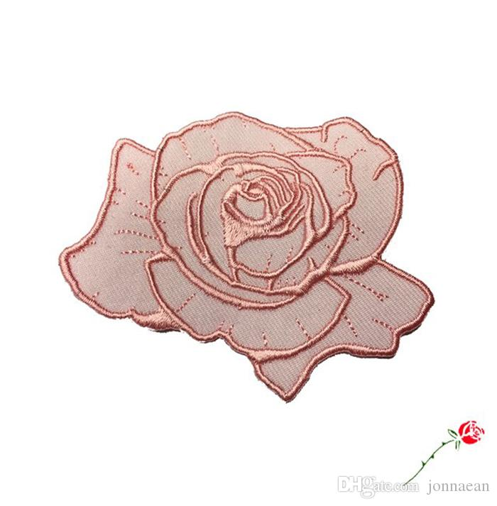 Romantische rosa staubige Rose Blume Patch Top Patches Eisen auf annähen Stickerei Patch Motiv Applique Kinder Frauen DIY Kleidung Aufkleber Hochzeit