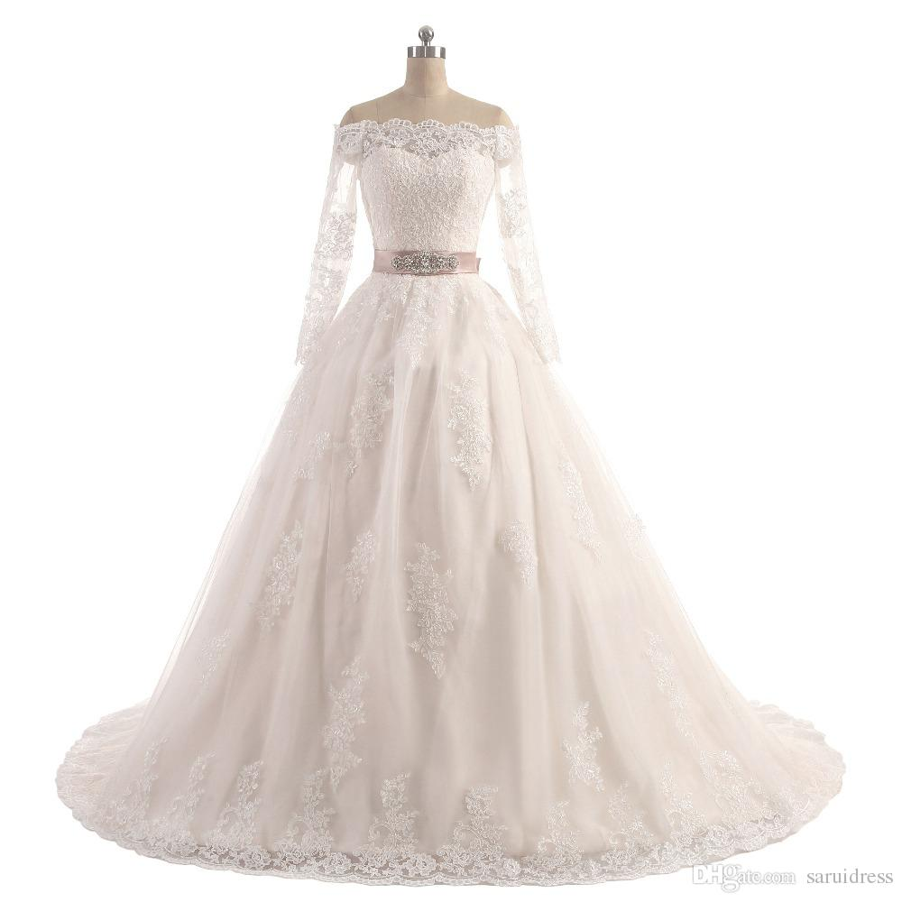 Yeni vestido de casamento Elegante do dantel 2019 tekne boyun mangas compridas trem da capela bir linha de apliques de sashes