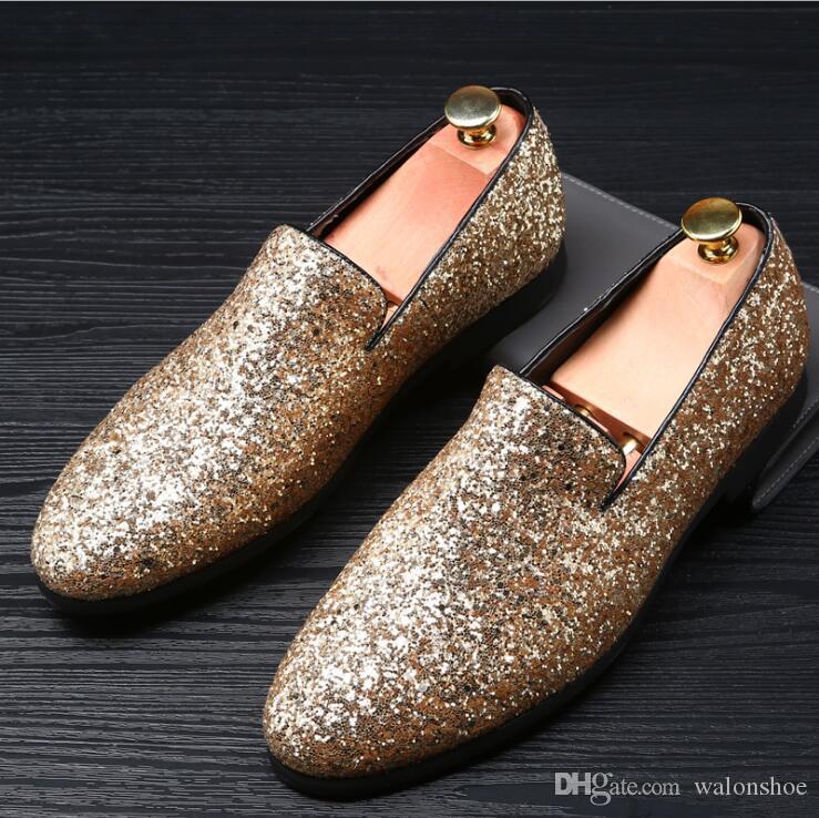 Männer Designer für Spiked Silver Gold Marke Müßiggänger Mokassins Strass Ankleideschuhe Männliche Nieten Cool Schuhe Luxus 2017 Wohnungen Männer Oxbfb