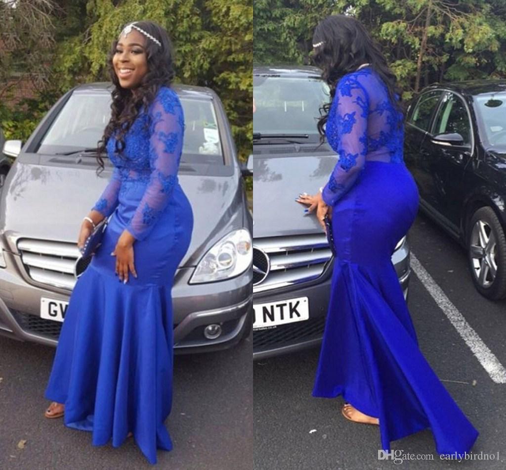 Nueva Royal Blue Sheer mangas largas vestidos de noche 2017 moda apliques de encaje sirena barata vestidos de fiesta vestidos de fiesta largos para niñas negras