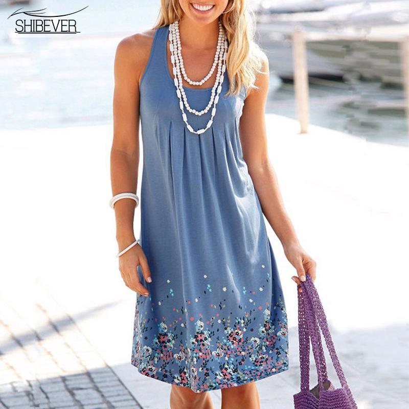 도매 - SHIBEVER 플러스 크기 보헤미안 루스 비치 드레스 2017 캐주얼 여성 섹시한 여름 복장 빈티지 숙녀 파티 인쇄 Boho 드레스 CLD196