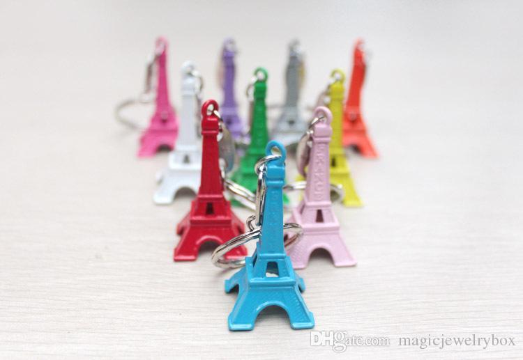 Torre Eiffel Llavero / torre de Zakka de la vendimia colorida regalos colgante llavero de moda al por mayor envío gratuito de bronce de oro de la astilla