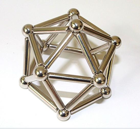 Wholesale- Magnetic Puzzle Neodymium 36 Stripes Stick Rod+27 Steel Bead Ball/Magnet Construction Set Kids Novelty Gift 0ffice Creative Toys