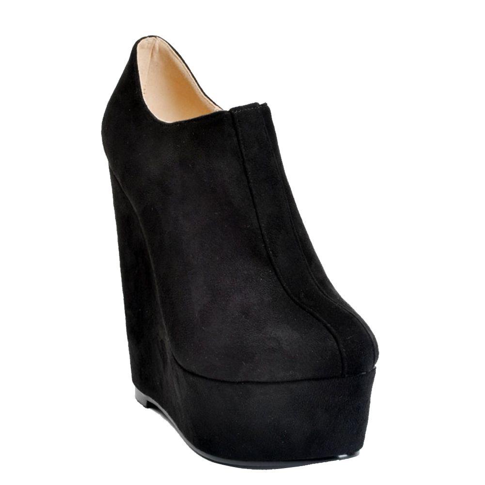 Großhandel Kolnoo Womens Fashion Handmade 15 Cm Hohe Keilabsatz Stiefelette Plattform Reißverschluss Party Schuhe Stiefel Schwarz XD076 Von Honeyshu,