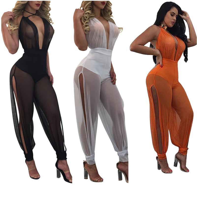 All'ingrosso 2017 Estate nuove tute sexy gamba larga abiti di un pezzo completo tuta vedere attraverso la maglia senza schienale pagliaccetti delle donne tuta
