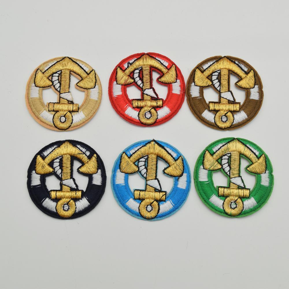 DIY 공예 재봉 도매 패치에 60PCS 믹스 컬러 라운드 앵커 로고 자수 철