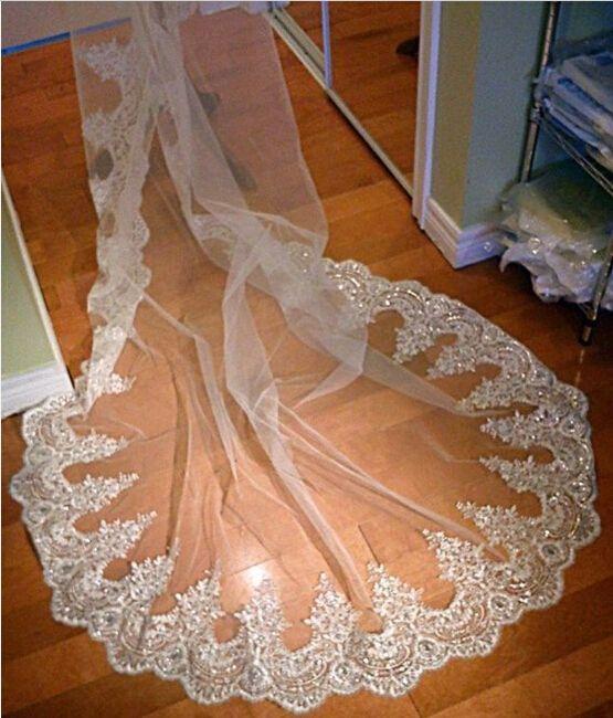 2017 shinny véu de noiva branco marfim 3 metros longa 1 camada de rendas perolização lantejoulas catedral véu de casamento custom made