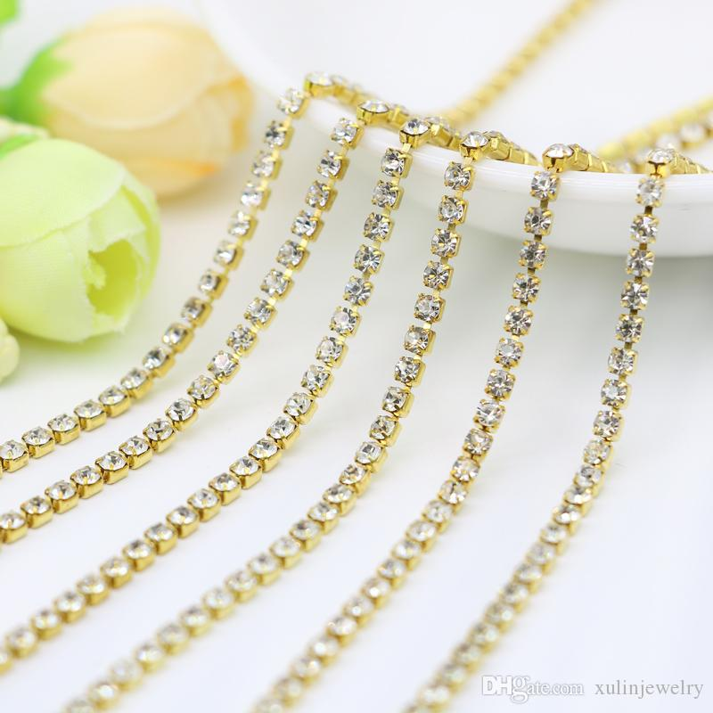 Crystal Strass Closed Rhinestone Cup Chain Trim Brass Raw Golden Tone Claw For , SS6.5-SS12, 3.5-5Meters/pack