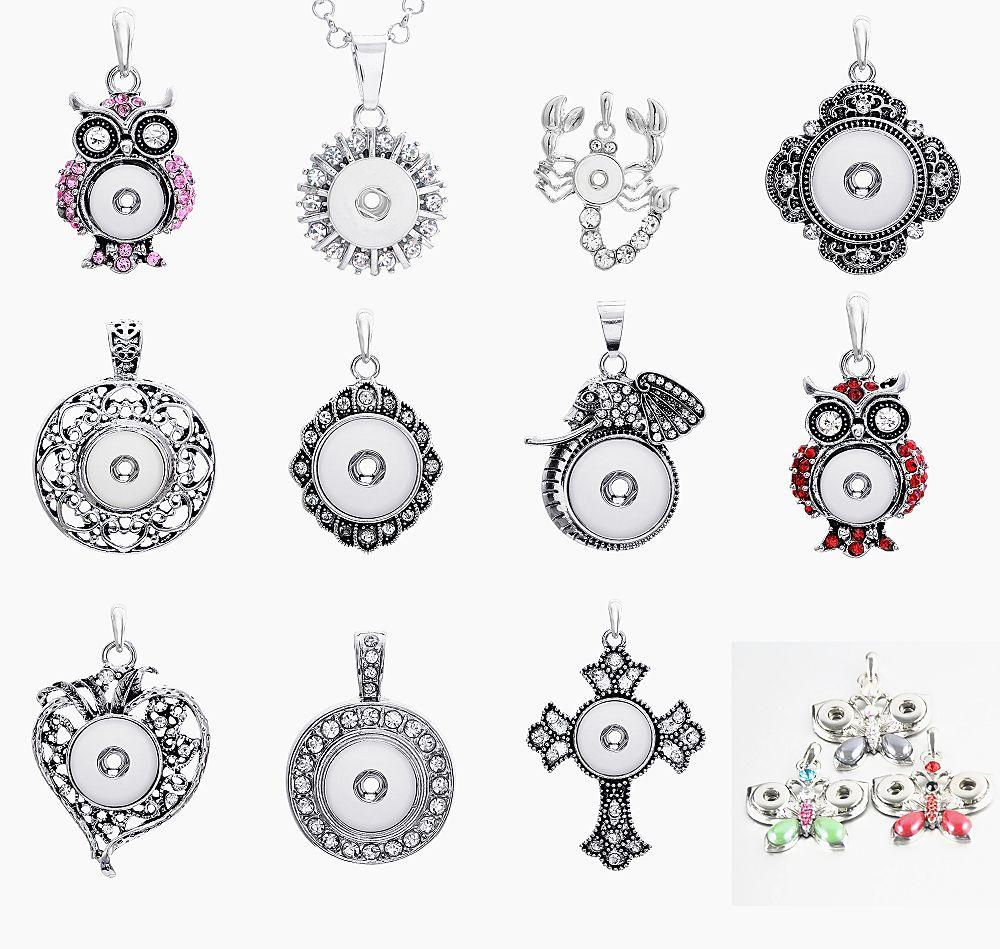 Brand New Fashion Rhinestone Argento Intercambiabile DIY 12mm MINI noosa Snap Button collane pendente di fascino lotti all'ingrosso