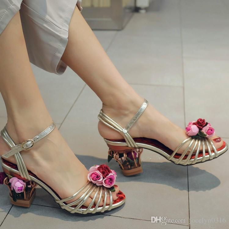 2017 Women Floral Sandals Flower Caged