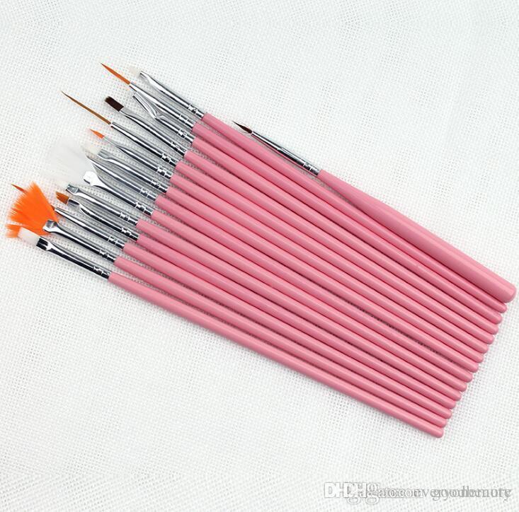 Profesyonel 15 Adet Tırnak Fırçası Nail Art Tasarım Resim Süsleyen Detaylandırma Kalem Fırçalar Paketi Tool Kit Set