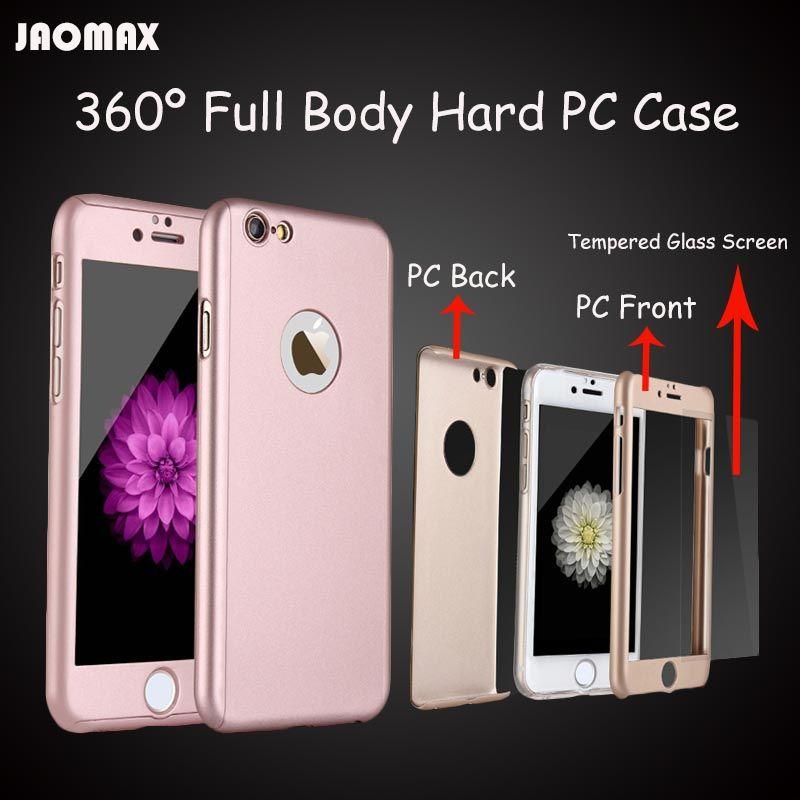 ترف روز الذهب صدمات 360 deagree كامل الجسم يستعصي pc حالة آيفون 6 6 ثانية 7 الهاتف كابا مع الزجاج المقسى حامي الشاشة