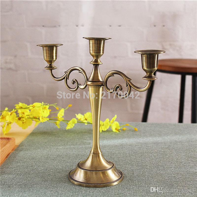 Großhandel Großhandel Silber Gold Bronze Schwarz 3 Zweig Metall Kerzenhalter Kerzenständer Dekoration Hochzeit Veranstaltung Kerzenhalter