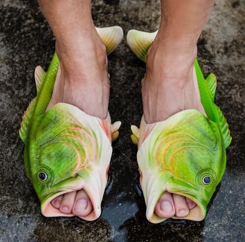 Familie Matching Slipper Kreative Typ Fisch Hausschuhe Frau Kinder Fische Sandalen Kinder Frauen Bling Flip Flops Folien Fischstrand Hausschuhe