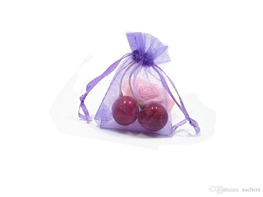 100pcs empty Drawstring organza Sachets Wedding Gift Bags & Pouches - Purple