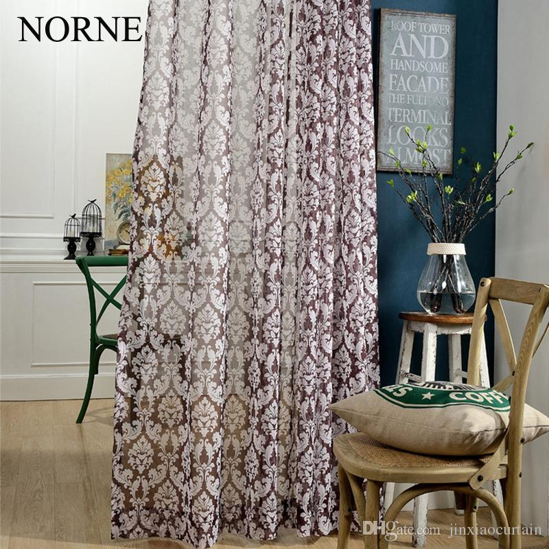 Norne Modern Tulle Window Curtains For Living Room The Bedroom The Kitchen Cortina(rideaux) Royal Print Sheer Curtains Blinds Drapes