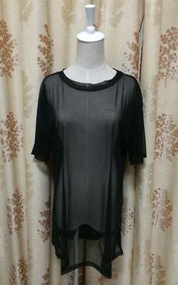 쉬어 메쉬 반팔 T 셔츠를 통해 여자의 참조는 오버 사이즈 블랙 탑