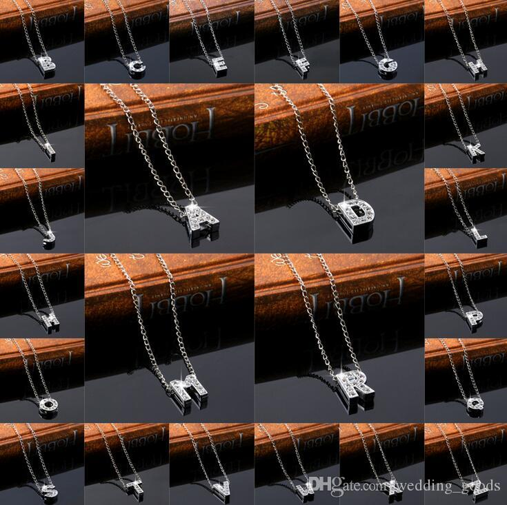 selling new alloy diamond inscription ornaments A-Z simple 26-letter female necklace WFN004 (with chain) mix order 20 pieces a lot
