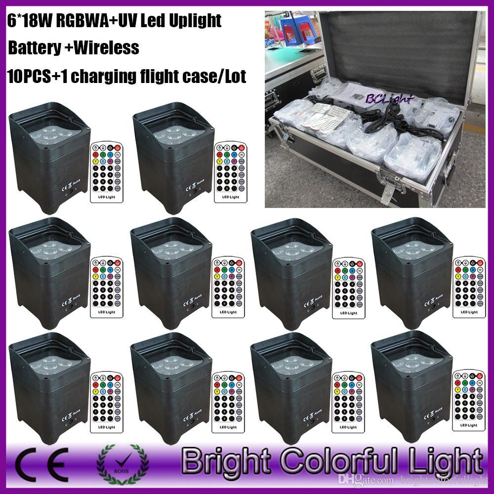 10 pcs+1flight case/lot led uplights 6pcs x18w infrared remote control wireless Dmx Uplights lithium battery powered led light