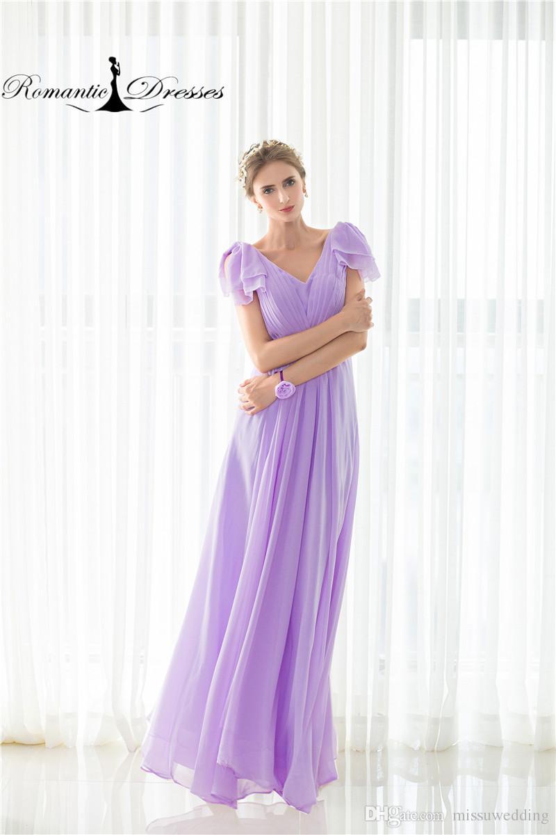 Chiffon Purple Bridesmaid Dresses A Line Short Sleeve Formal Dresses ...