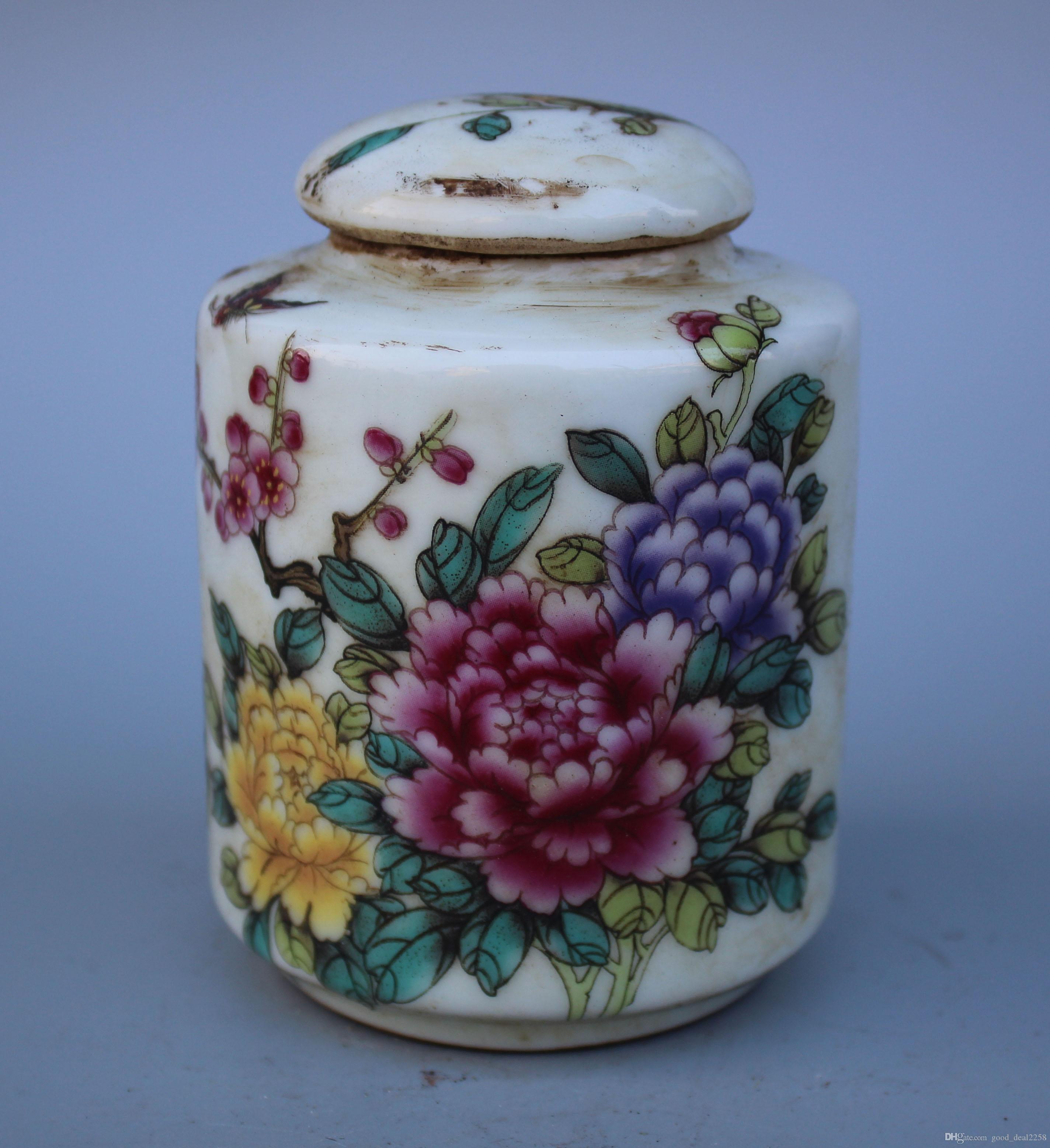 Rare porcellana cinese Handwork painting flower butterfly Old pot - Spring full garden Tè caddy