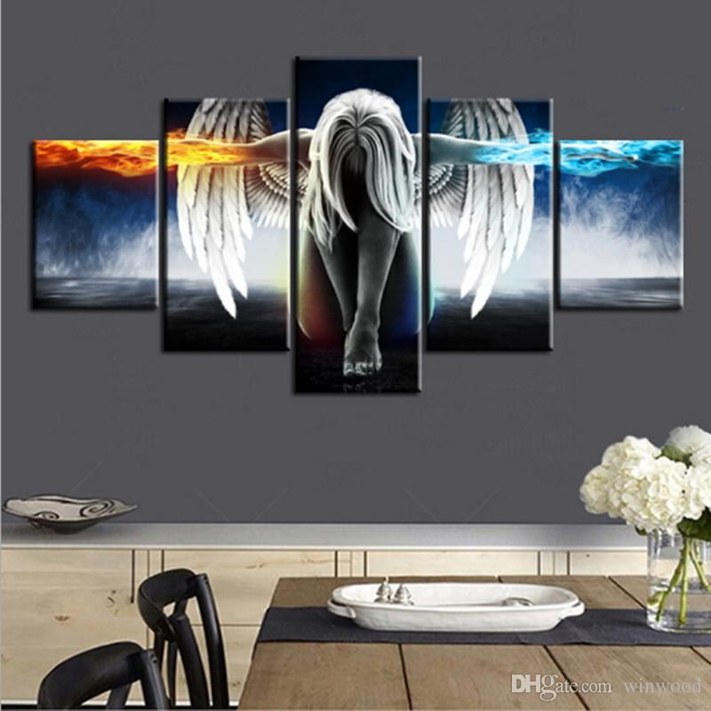 Oil Painting 5 Pieces/set Angel Demons Wing Printed Canvas Anime Room Printing Wall Art Paint Decoration Decorative Craft Picture Home Decor
