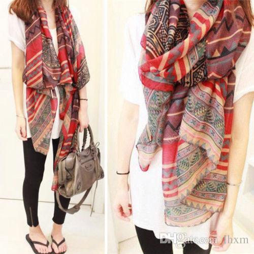 Brand-165cm * 85cm Moda 1 UNIDS Mujeres Bufanda Rojo Vintage Lady Long Soft Cotton Voile Print Bufandas Warp chal bufanda mujer