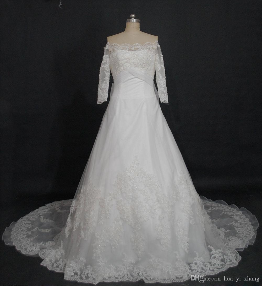 2016 Nuevos vestidos de novia Sin tirantes Apliques con cuentas con flores hechas a mano Organza Capilla Vestidos de tren Imágenes reales Vestidos de novia