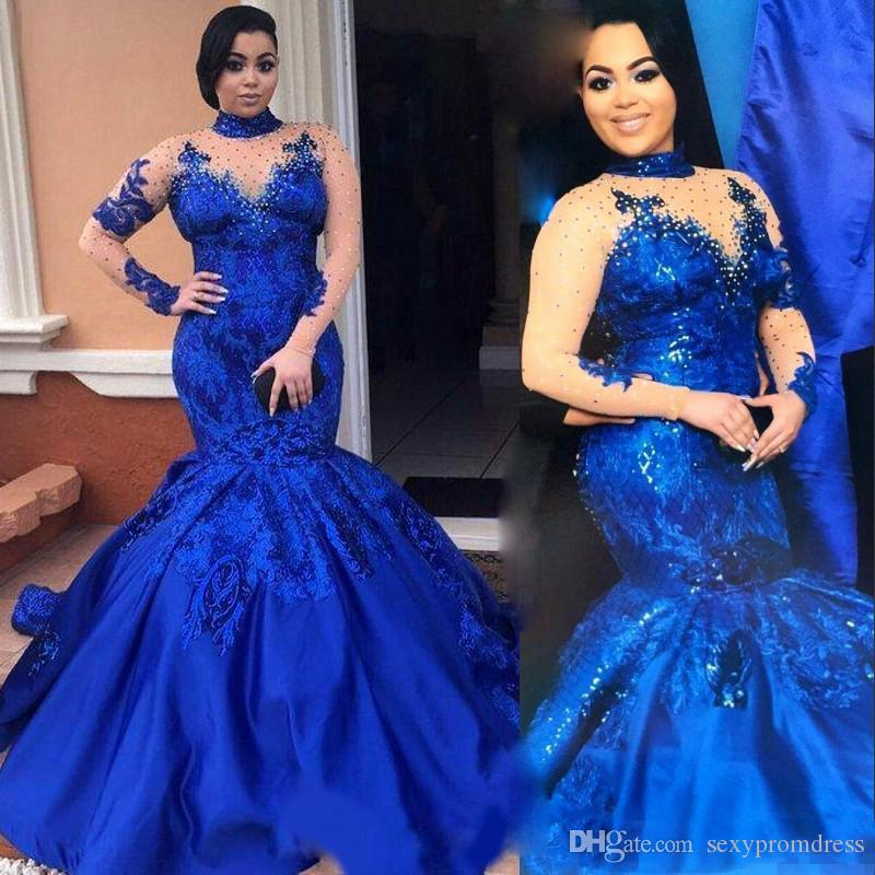 Saudi Arabia Royal Blue Prom Dresses High Neck Nude Mesh Long Sleeves Lace  Appliques Evening Gowns Plus Size Satin Mermaid Formal Wear Strapless Prom  ...
