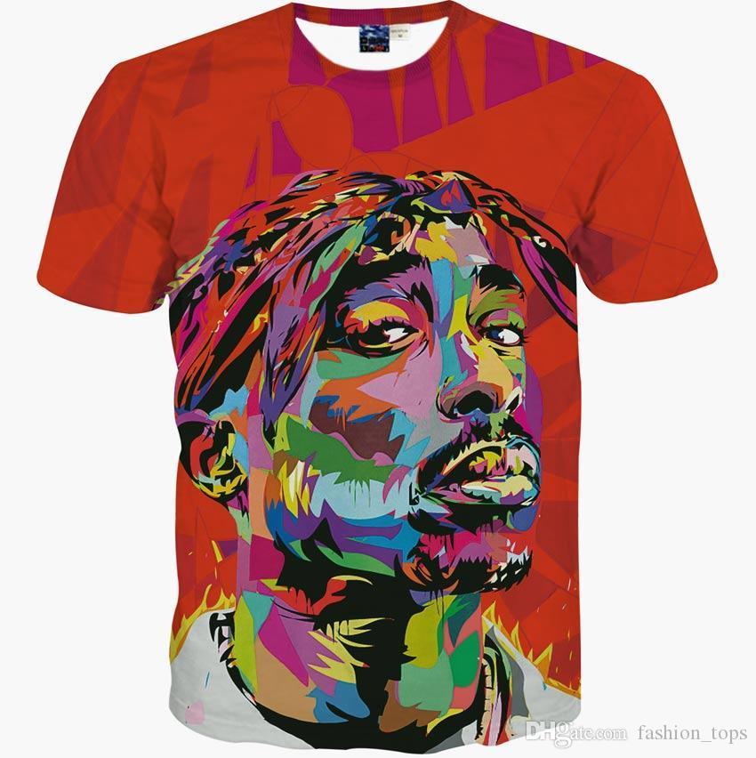 Hip Hop T-shirt uomo 2016 New brand fashion 3d t-shirt stampa rapper Tupac 2Pac estate supera it te maglietta sottile