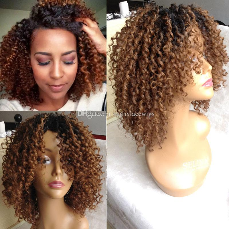Ombre Kinky Curly Human Hair Full Lace Wigs