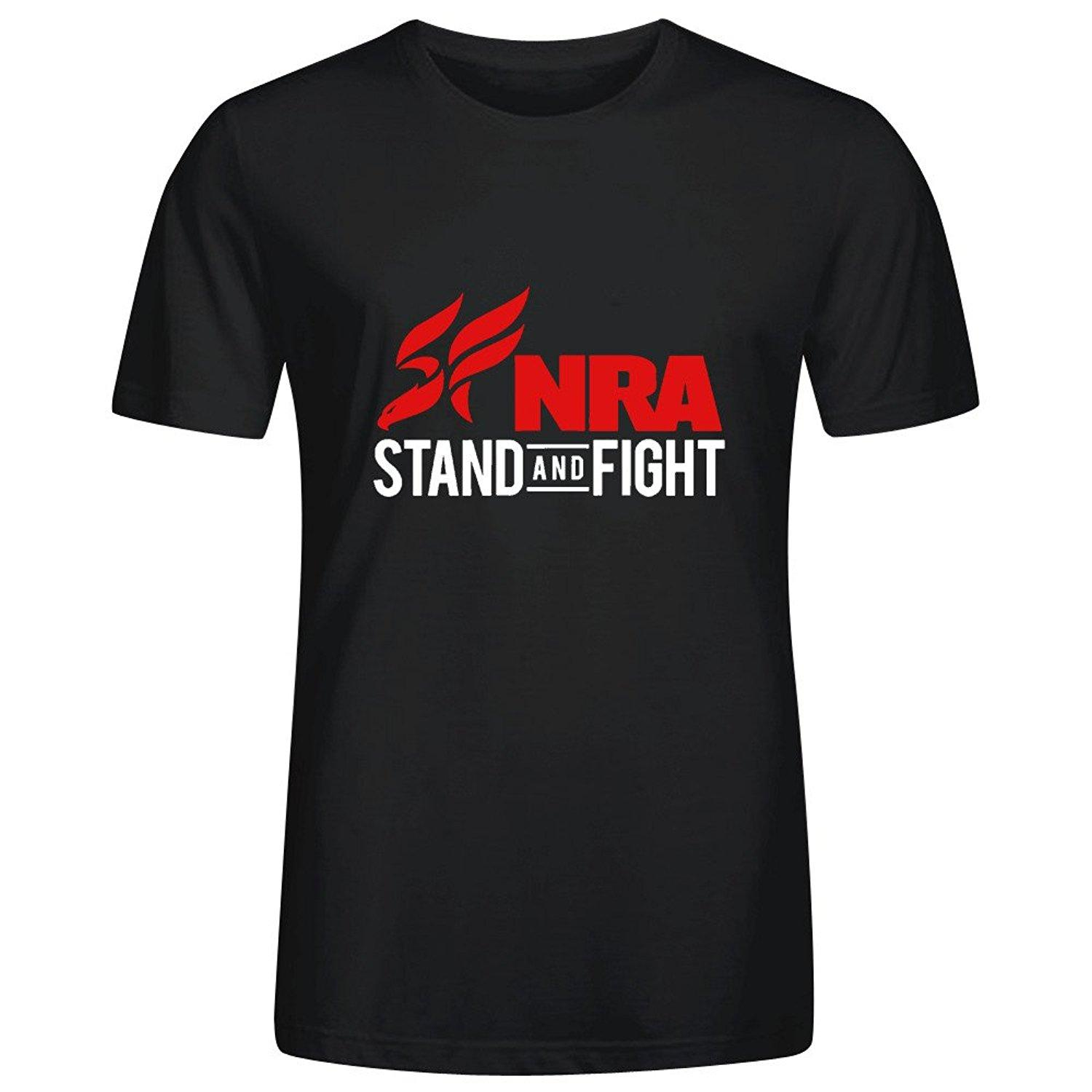 Personalized Design NRA Stand and Fight Image Print T Shirts Tee for Mens Boys Cotton Round Collar Funny Hip hop Cool