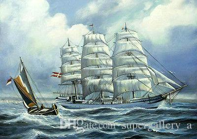 Framed seascape with ocean waves and big sail boat navigate on sea,Hand Painted Art Oil Painting Canvas.Multi sizes Free Shipping S018