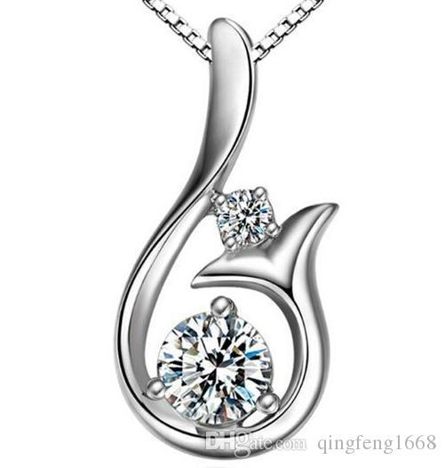 Großhandelsfrauenhalskette europäische und amerikanische Mosaikdiamantmeerjungfrau-Kurzschlussanhänger-Halskette A119