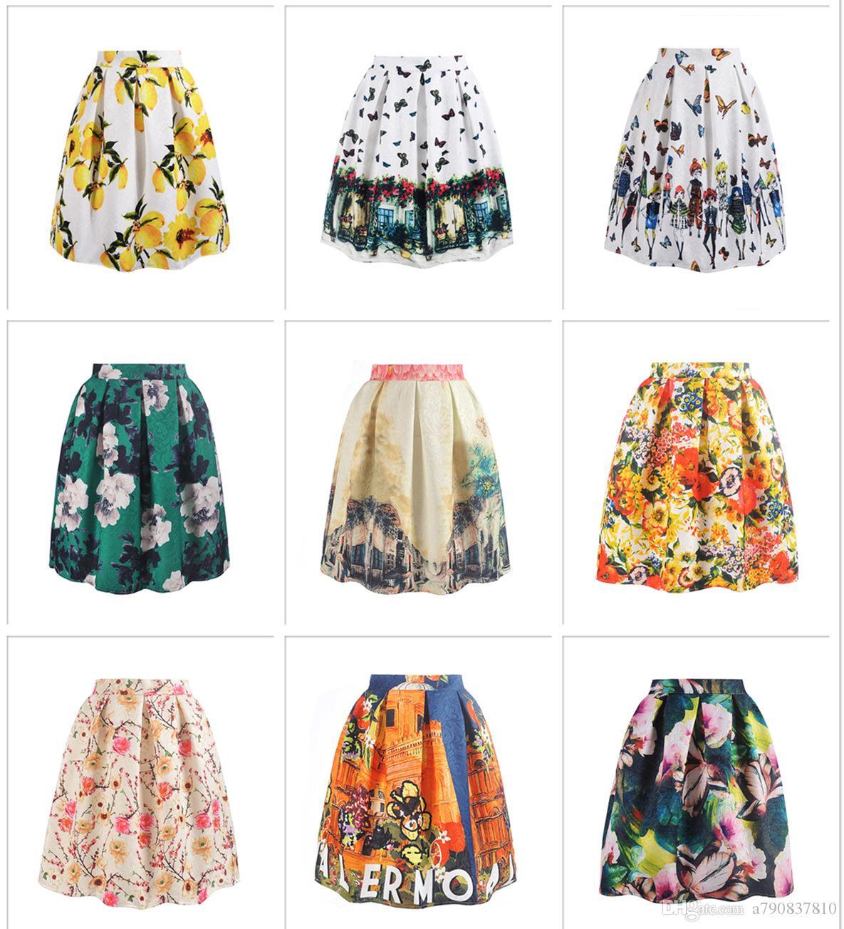 Livraison gratuite DHL Femmes Jupes 2017 Printemps Eté Nouvelles Dames Élégant De La Mode Graffiti Imprimer Taille Haute Midi Jupe Holiday Wear NYC137