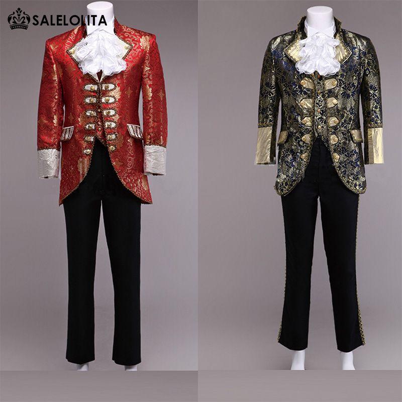 Wholesale- High-End-Rot / Glod Herren Prince William Suits 4 Sets Floral Renaissance Mittelalterlich König Louise Anzug Historische Kleidung (Jacke + Hose + Vest)