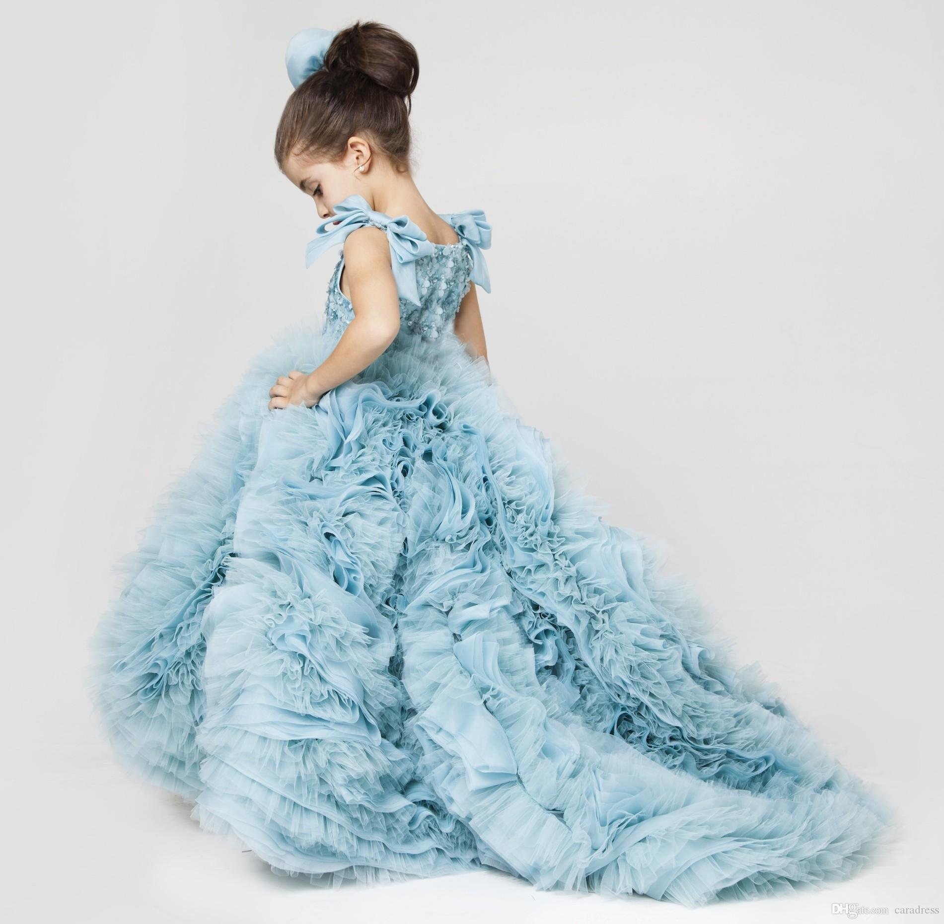Pretty Flower Girls Dresses Ruched Tiered Ice Blue Puffy Girl ...