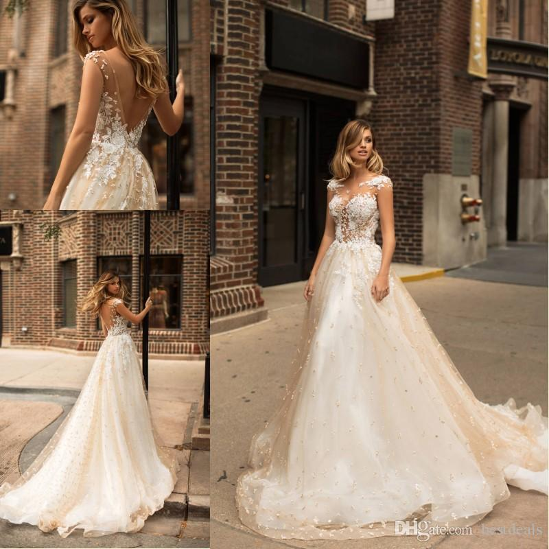 2018 New Designer Champagne Wedding Dresses Illusion Neckline Beaded Pearls Lace Bridal Dress Spring Milla Nova Wedding Gowns