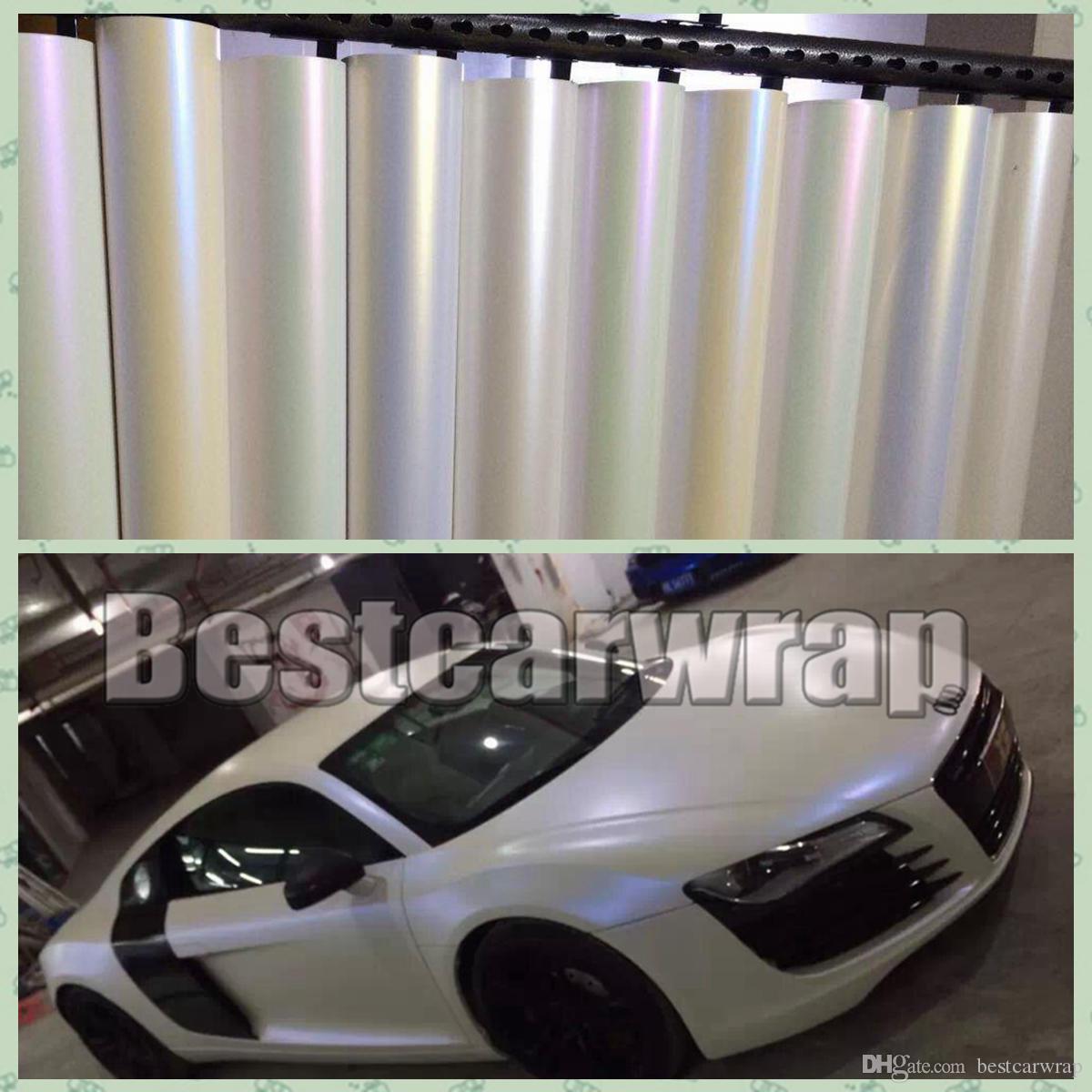 Различные цвета сатинированные белые жемчужины виниловой упаковки автомобиль автомобиль завернут наклейки наклейки с низкой прихваткой клей 3 м Размер качества 1,52x20 м / рулон 5x65ft