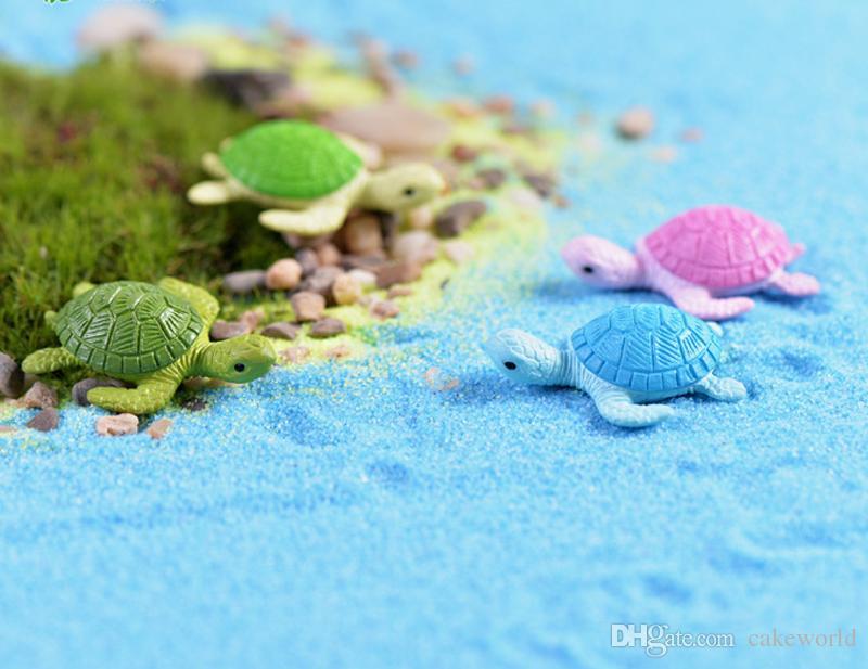 8pcs figurine di tartaruga colorata gnomes beach fairy garden miniature bonsai terrarium Ornamenti di bottiglie ecologiche