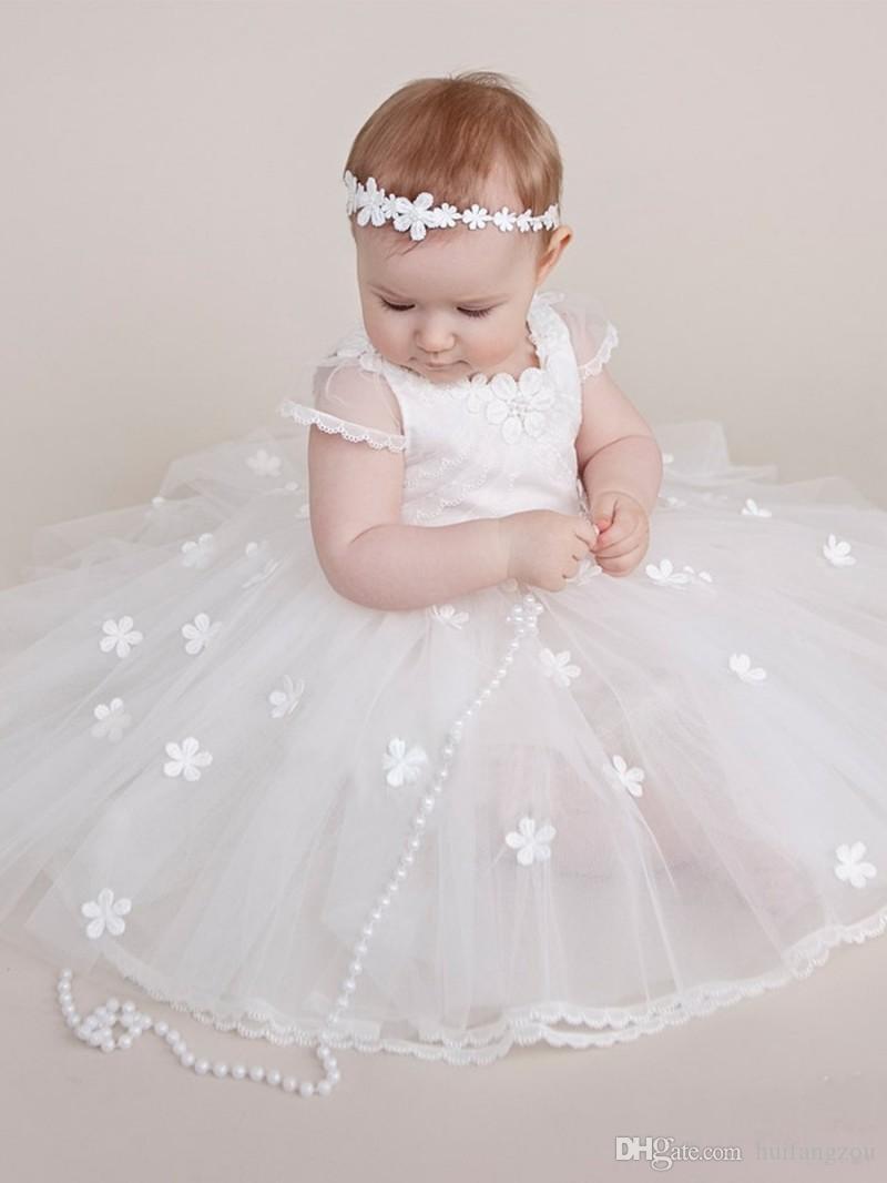 Compre Encantadores Apliques Vestidos De Bautizo Para Niñas Con Cuentas Joya Escote Palabra De Longitud Vestido De Bautismo De Tul Primeros Vestidos