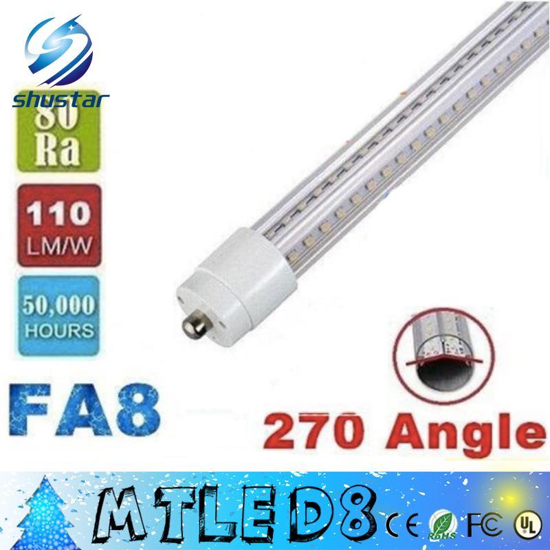 LED V-Şekilli 4ft 5ft 6ft 8ft T8 Tüpler Işıkları Soğutucu Kapı LED Tüpler Tek Pin FA8 28 W 32 W 42 W 65 W Soğuk Beyaz AC 85-265 V + CE ROHS UL