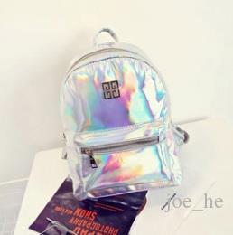 2017 New School Colorful Plain Backpack Hologram Girl Bag Laser Nylon Metallic Women Laser Rainbow Shoulder Holographic Backpack Hslte
