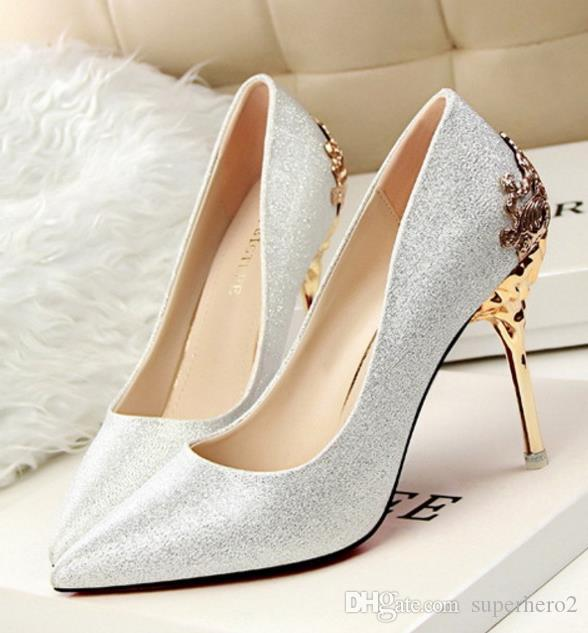 Womens high-heeled Suede Shoes pumps carved metal heel pointed Wedding Shoes 9colors drop lady christmas gift shipping