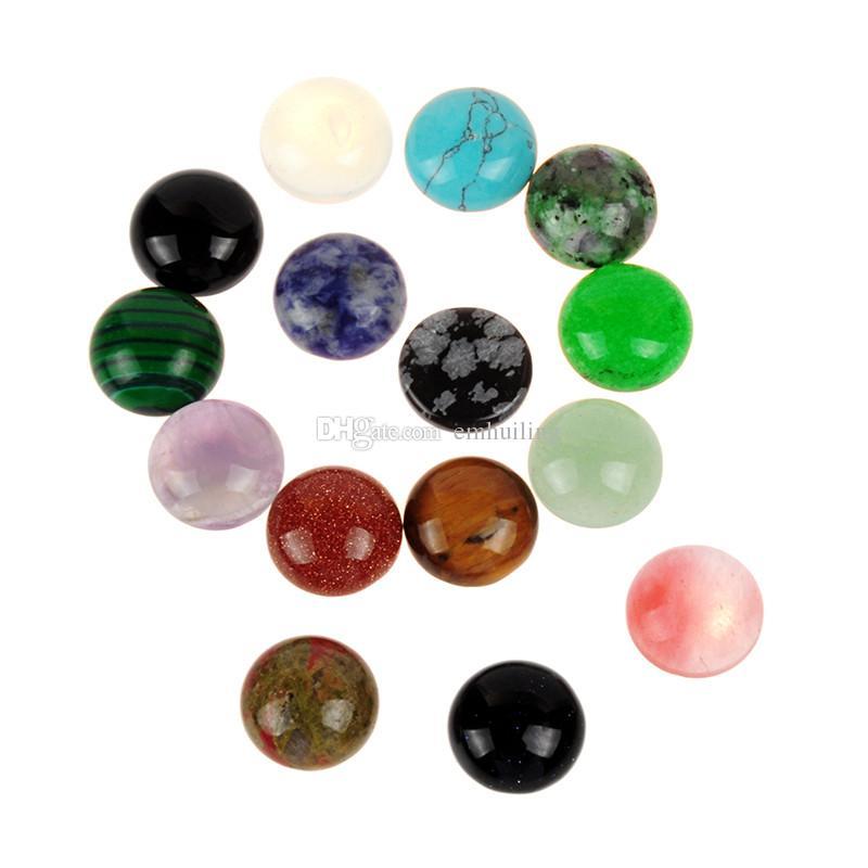 10 pcs Pick Tamanho 8mm 10mm 12mm Meia Volta Plana Misturado Aleatória Pedra Natural Onyx Contas de Ágata Obsidian Cabochão para Artesanato Fazer Jóias