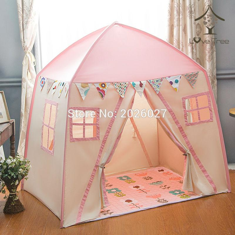 free shipping c6ad7 86be3 Wholesale Love Tree Kid Play House Cotton Canvas Indoor Children Sleeping  Tent Large House Pink House Childrens Hanging Tent Play Tent And Tunnel  Ball ...