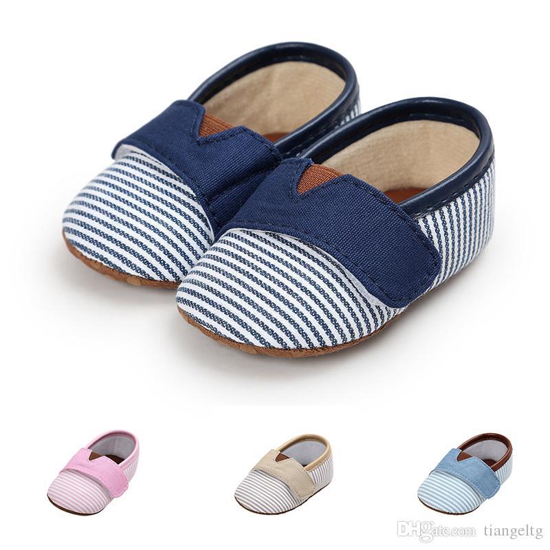 아기 캔버스 다채로운 줄무늬 신생아 유아 유아 신발 안티 슬립 소프트 솔 여자 소년 아기 워킹 신발 0-18m